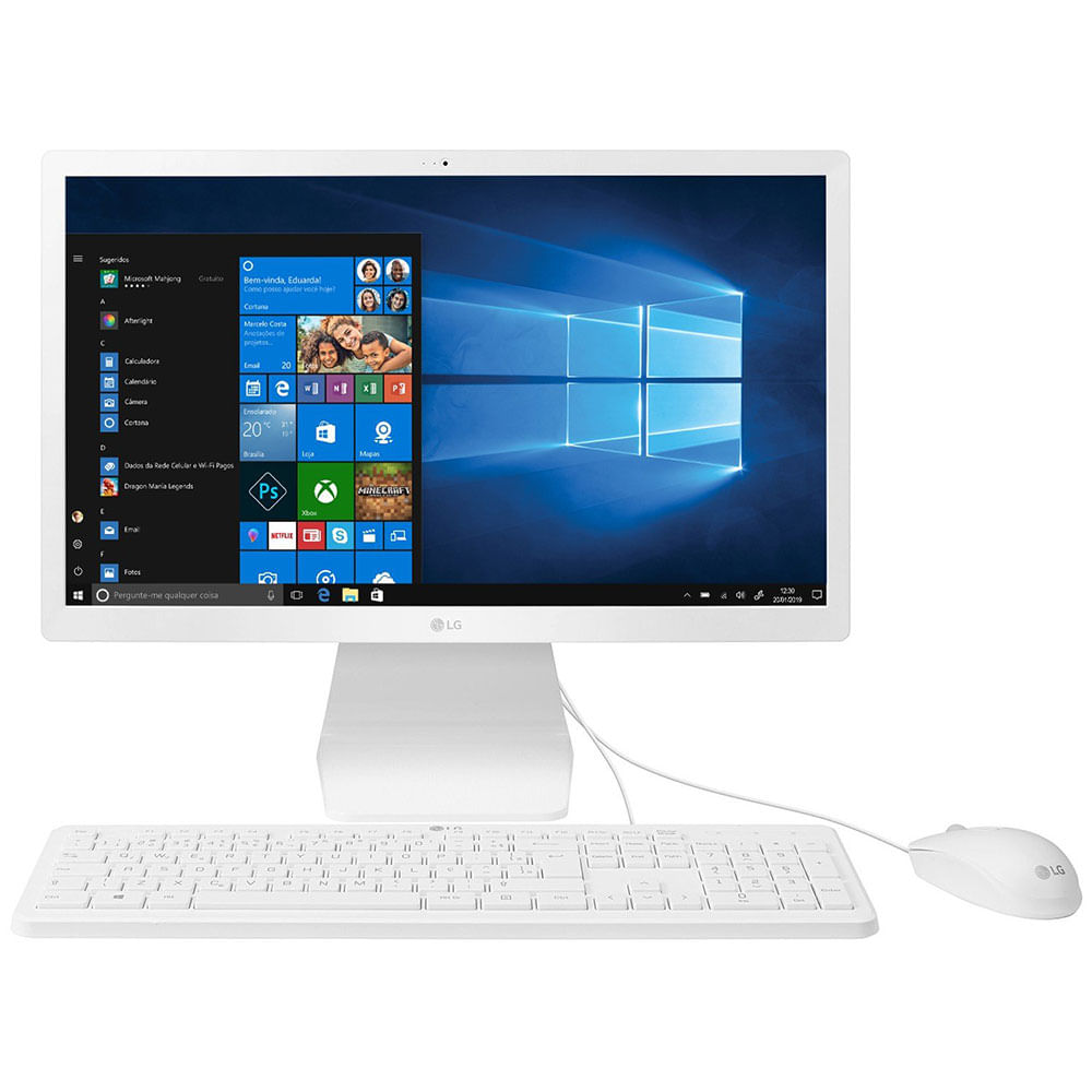 "Computador All in One Intel Celeron 4GB HD 500GB LG 22V280-L.BY31P1 21.5"" Windows 10"